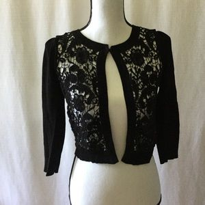 INC International Concepts Black Crop Open Cardi
